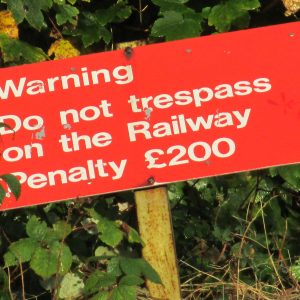 I found him near the brambles at the bottom of a slope of wasteland beside the railway bridge, between two traffic cones and a wheel-less pushchair. The pentimento of a graffiti-layered sign read, 'Railway Property. Keep Out. Fine £200'.
